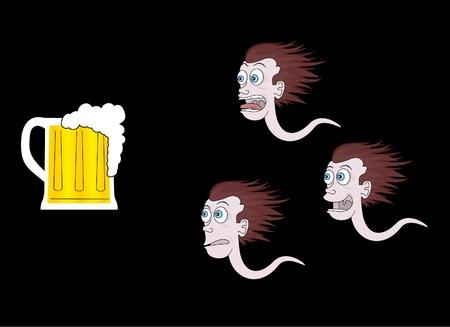 sperm: Funny sperm after a beer Illustration
