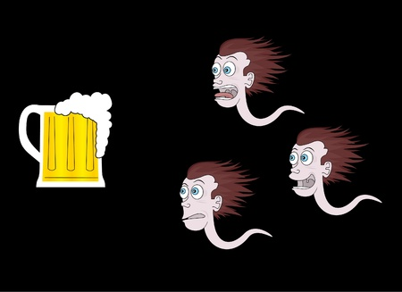espermatozoides: Gracioso esperma despu�s de una cerveza Vectores