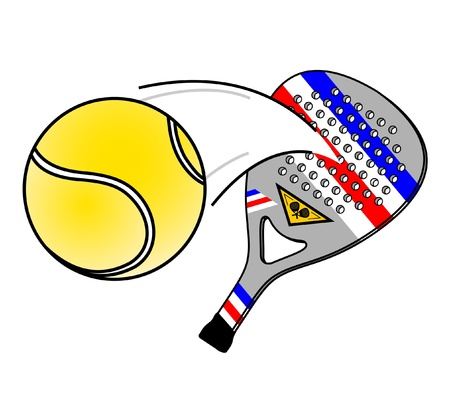 golpeando: Raqueta de padel golpeando una pelota Vectores