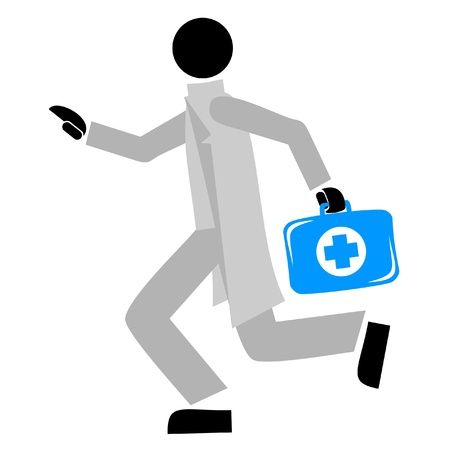 attend: Illustration of doctor running Illustration