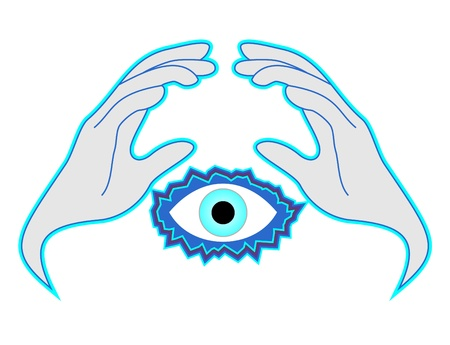 worshiping: Hands and eye Illustration