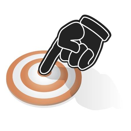 dedo se�alando: Dedo que se�ala el centro de destino