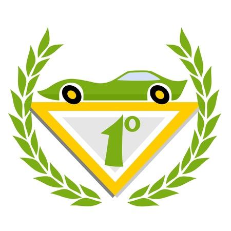 Winner green car Vector
