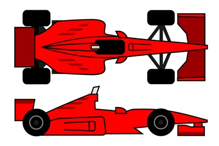 aileron: Vector drawing of red racing car Illustration