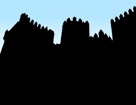 Castle silhouette on blue background