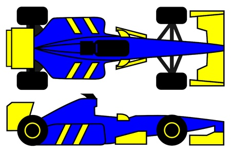 energized: Blue and yellow racing car Illustration