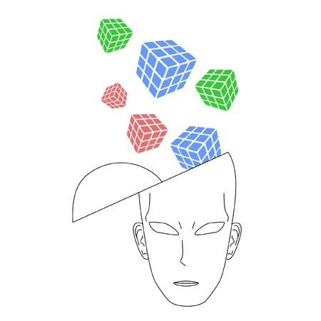 Abstract drawing of head thinking Stock Vector - 10399338