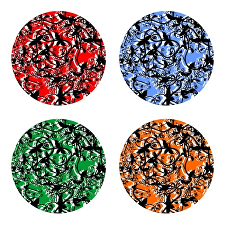 Creative design of four colored buttons Stock Vector - 10342212