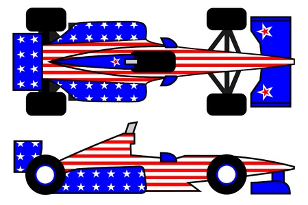 energized: Racing car with decoration of the United States