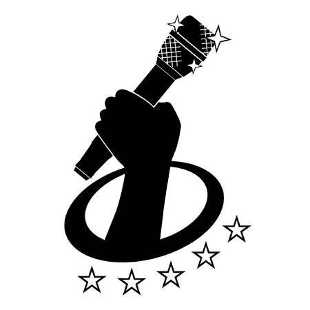 singer with microphone: Emblem of hand holding microphone Illustration