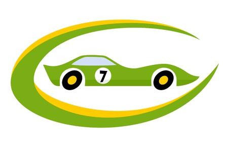 Racing car with hybrid engine Vector