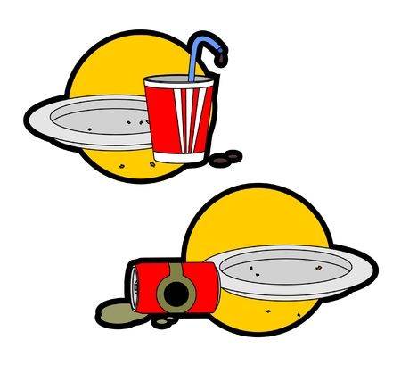 Icons of junk food Vector