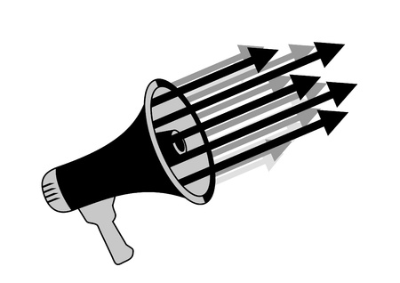 cheer leading: Abstract megaphone with arrows Illustration