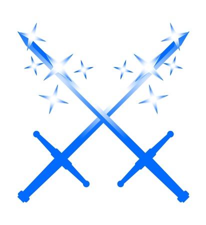 Two blue swords Stock Vector - 10385141