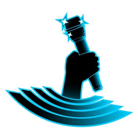 s�ngerin: Wappen von Hand mit hellen Mikrofon