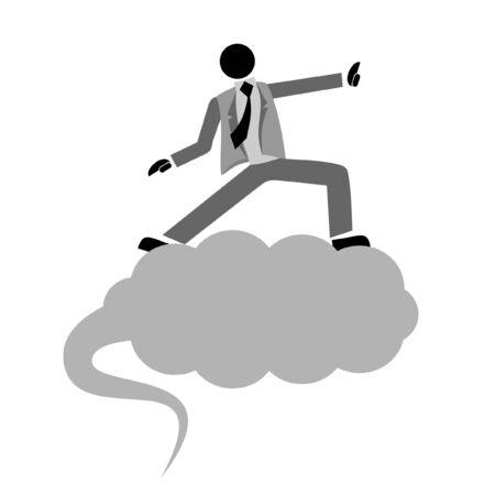 Businessman on a cloud Stock Vector - 10435954