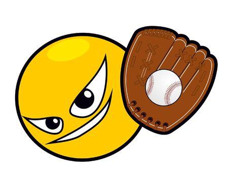 people having fun: Funny face playing baseball