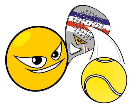 Yellow face icon playing paddle Vector
