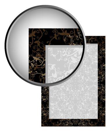 quadrant: Decorative frame with lens showing detail