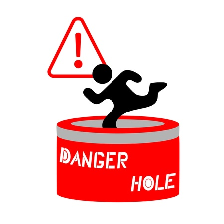Sign warning of dangerous hole Stock Vector - 10444710