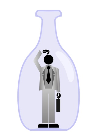hesitating: Businessman trapped in glass bottle