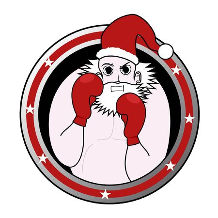 disguised: Santa boxing emblem Illustration