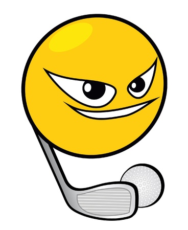 match head: Original and fun web button of funny face playing golf