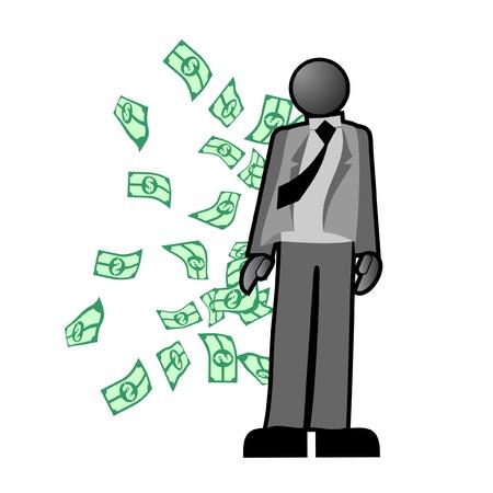 Businessman with many dollar bills flying Stock Vector - 10476110