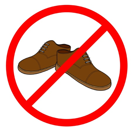 prohibited symbol: Forbidden to walk in shoes Illustration