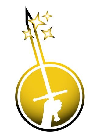 Gold sword symbol Vector