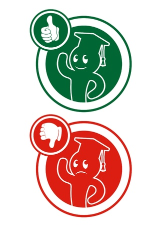 warned: Circular icons with students, one approved and one suspended