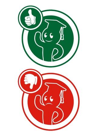 Iconos circulares con estudiantes, uno aprobados y suspendidos