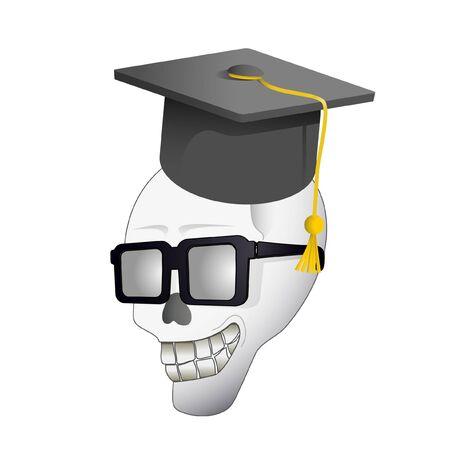 bony: Skull with university cap Illustration