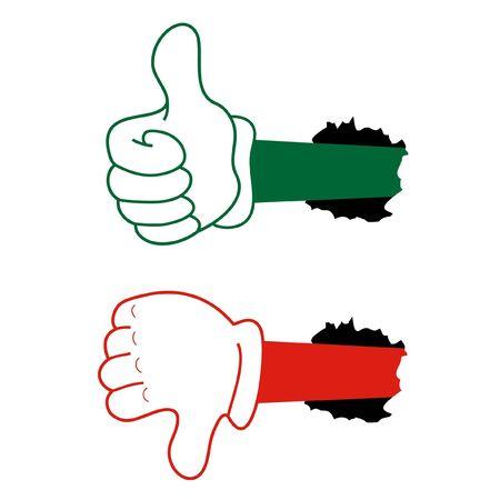 vaincu: Mains vertes et rouges cr�atifs