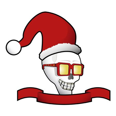 disguised: Skull with christmas costume