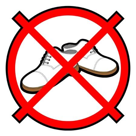 prohibition sign: No shoes