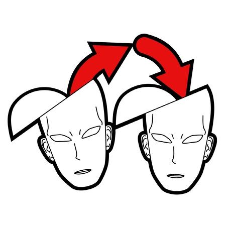 sociologia: Dos cabezas de la transmisi�n de conocimientos Vectores