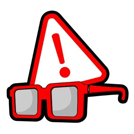 miopia: Occhiali con simbolo di avvertimento rosso