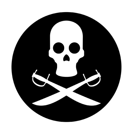 corpses: Circular icon with pirate symbol Illustration