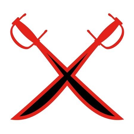 crossed swords: Dise�o de dos espadas cruzadas Vectores