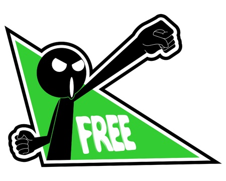 Puppet screaming the word free