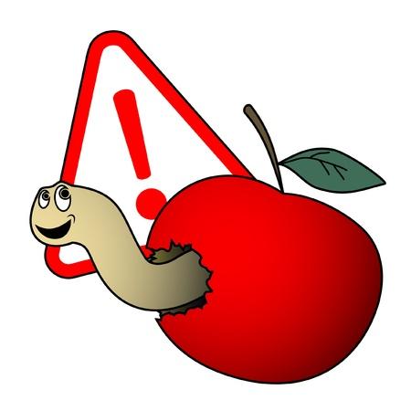 alarming: Gusano de una manzana roja