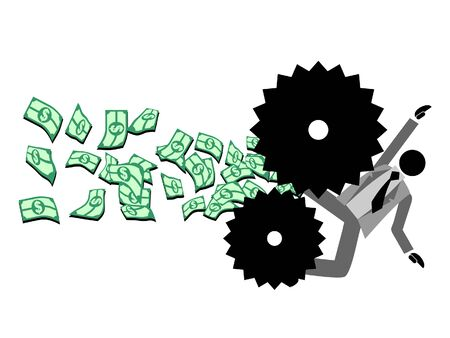 Machine squeezing money from a millionaire Vector