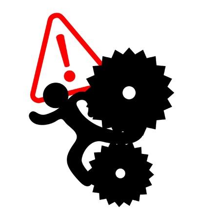 Tekening van een werknemer gevangen in machines Vector Illustratie