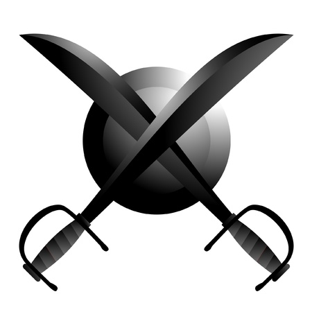 defensive: Antique swords and shield Illustration