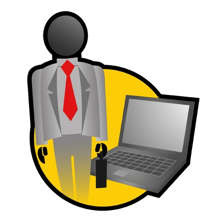 Icon businessman with laptop Stock Vector - 10658019