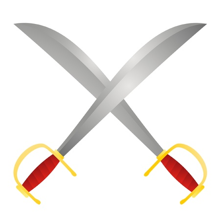 cross armed: Two crossed swords