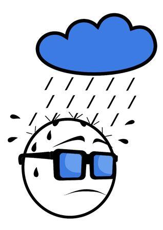 Face in the rain Vector