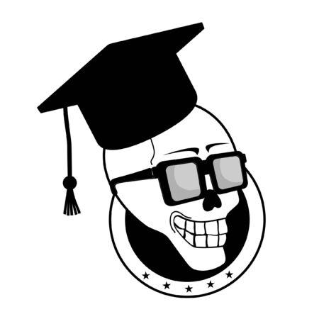 Student skull emblem Stock Vector - 10605656