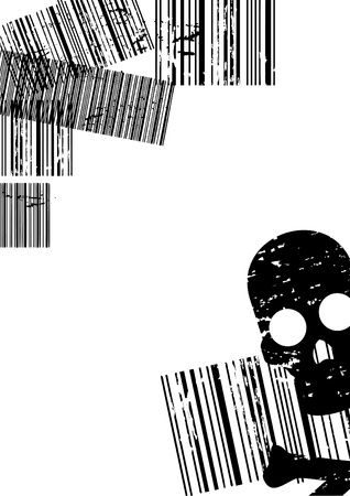 expiring: Background with barcodes and a skull